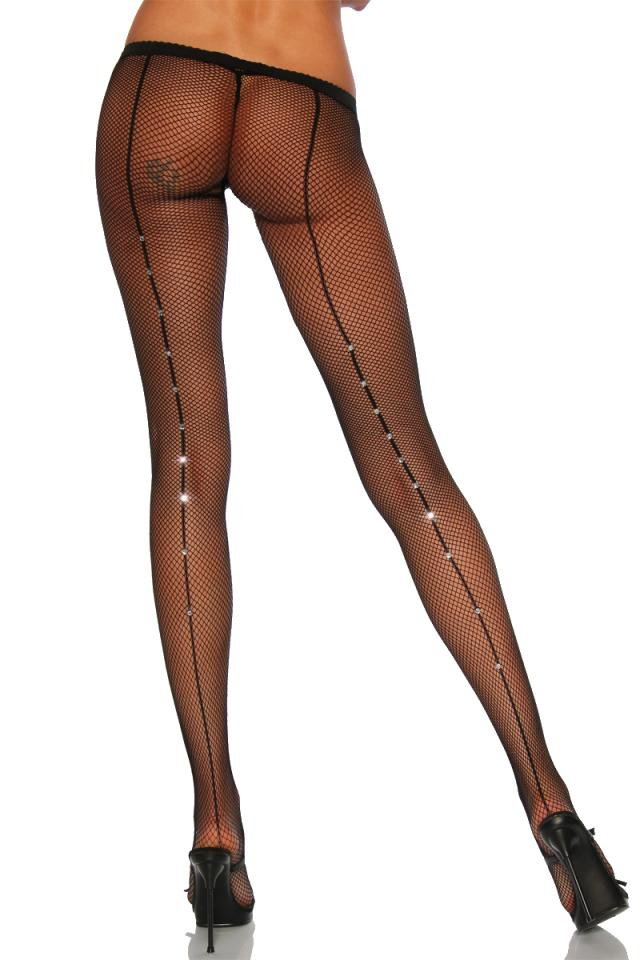 Mesh Tights with rhinestone
